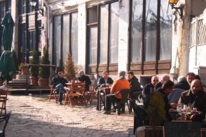 skopje, old bazaar, people enjoing the beautiful autumn weather