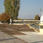 skopje, monument of emperor Justinian on Vardar river