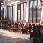 skopje, old bazaar, people enjoing the beautiful autumn weather