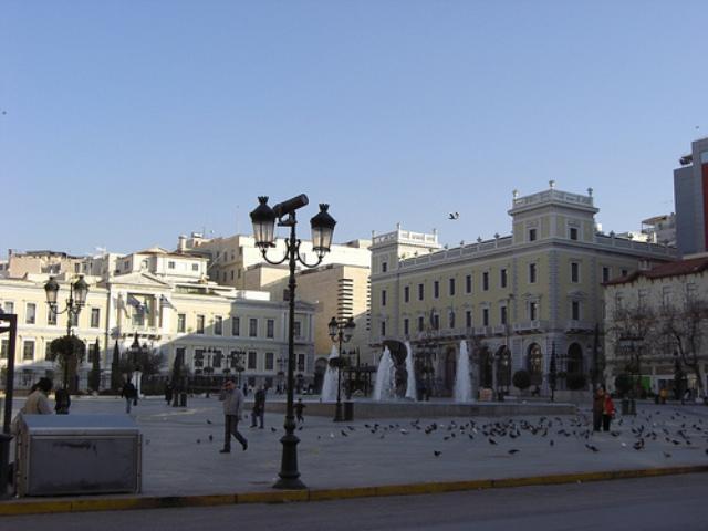Плоштад Kotzia, поглед од улица Athinas